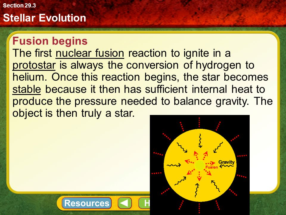 Section 29.3 Stellar Evolution. Fusion begins.
