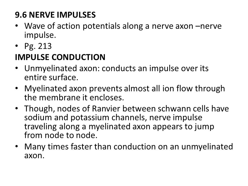 9.6 NERVE IMPULSES Wave of action potentials along a nerve axon –nerve impulse. Pg. 213. IMPULSE CONDUCTION.