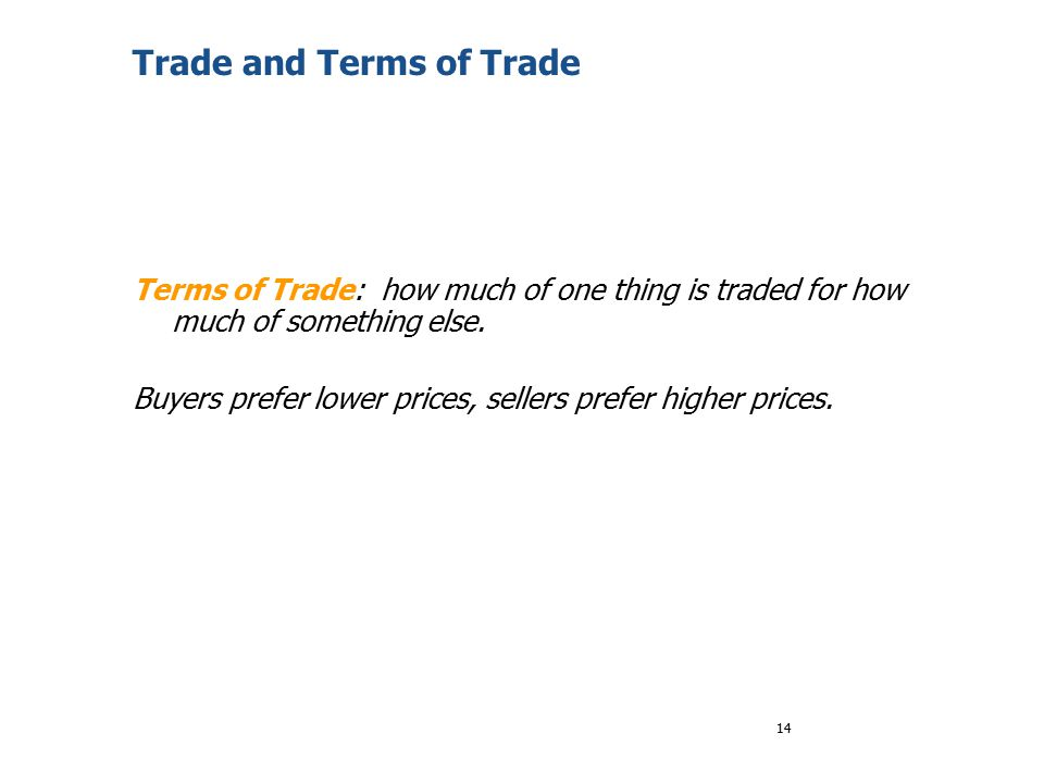 Trade and Terms of Trade