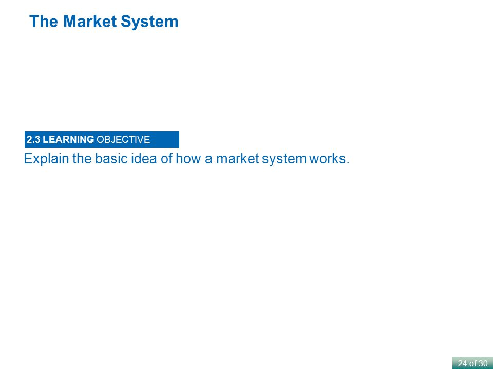 The Market System Explain the basic idea of how a market system works.