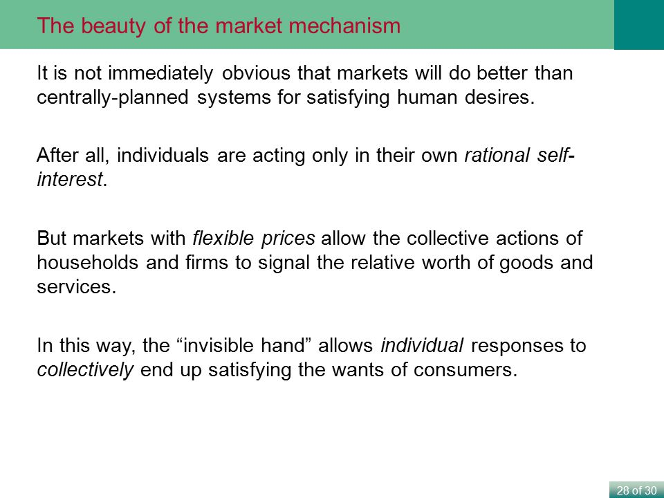 The beauty of the market mechanism
