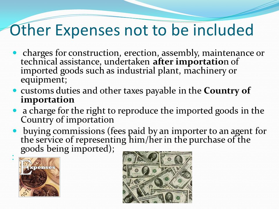 Other Expenses not to be included