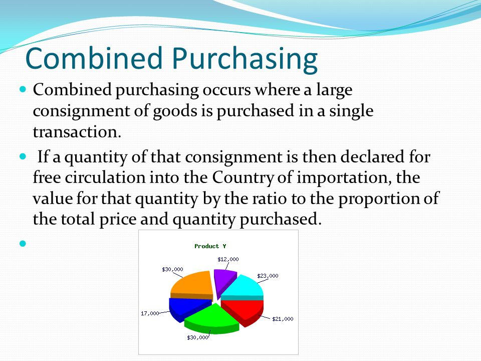 Combined Purchasing Combined purchasing occurs where a large consignment of goods is purchased in a single transaction.