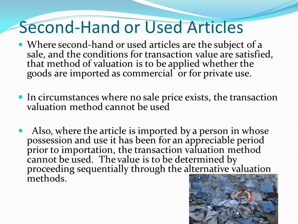 Second-Hand or Used Articles