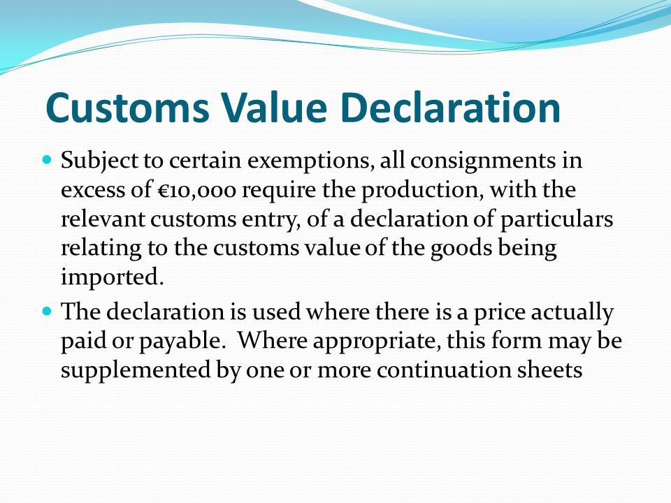 Customs Value Declaration