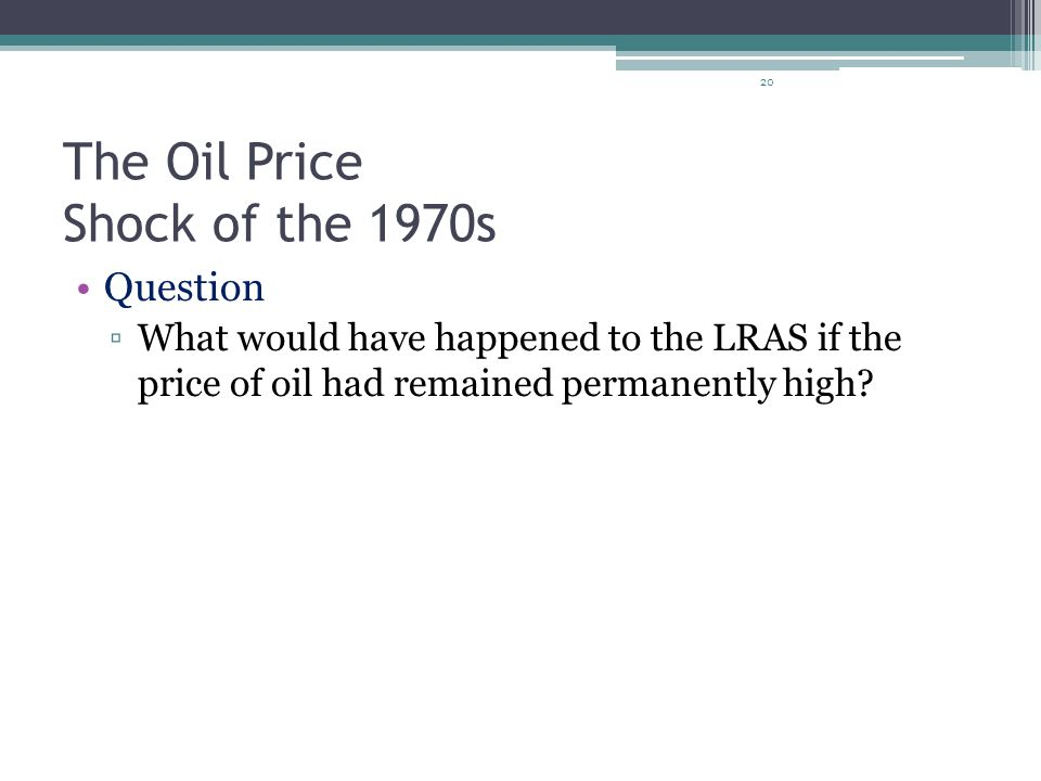 The Oil Price Shock of the 1970s