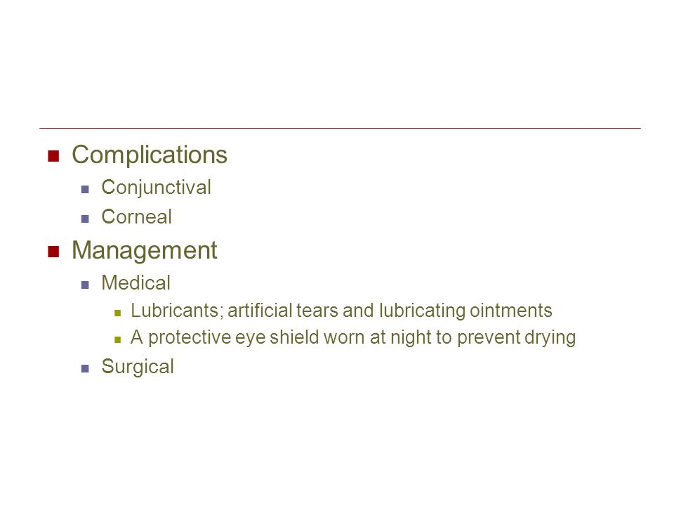 Complications Management Conjunctival Corneal Medical Surgical