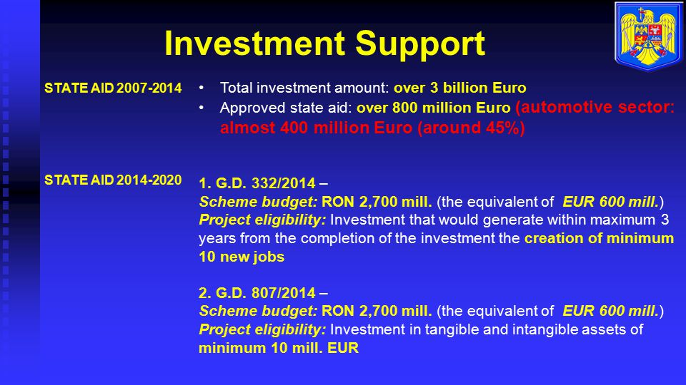 Investment Support Total investment amount: over 3 billion Euro