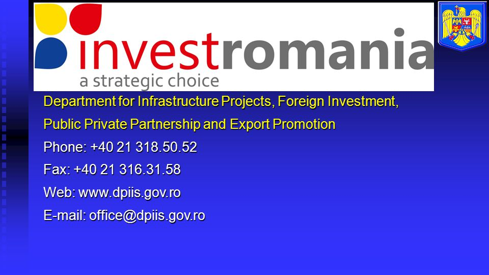 Department for Infrastructure Projects, Foreign Investment,