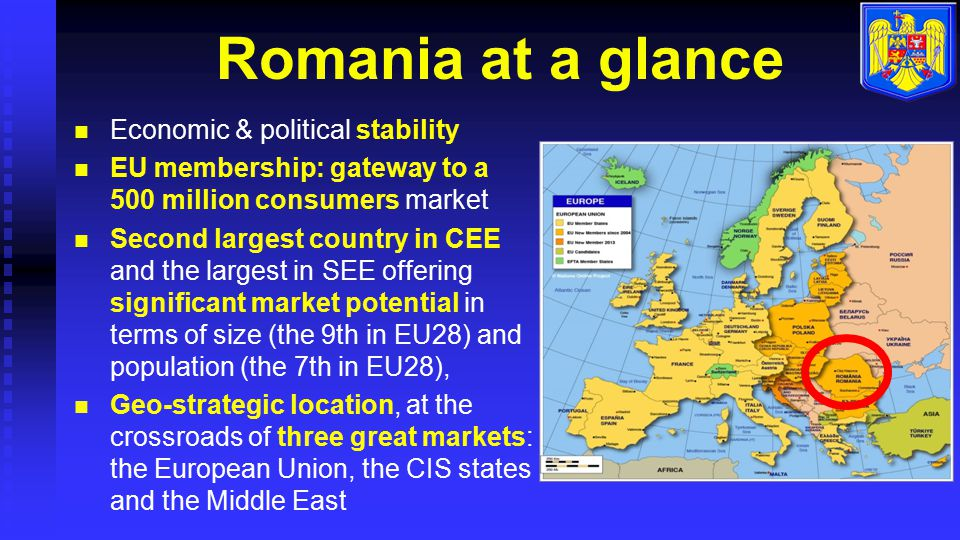 Romania at a glance Economic & political stability