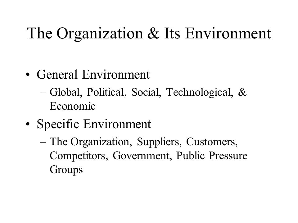 The Organization & Its Environment