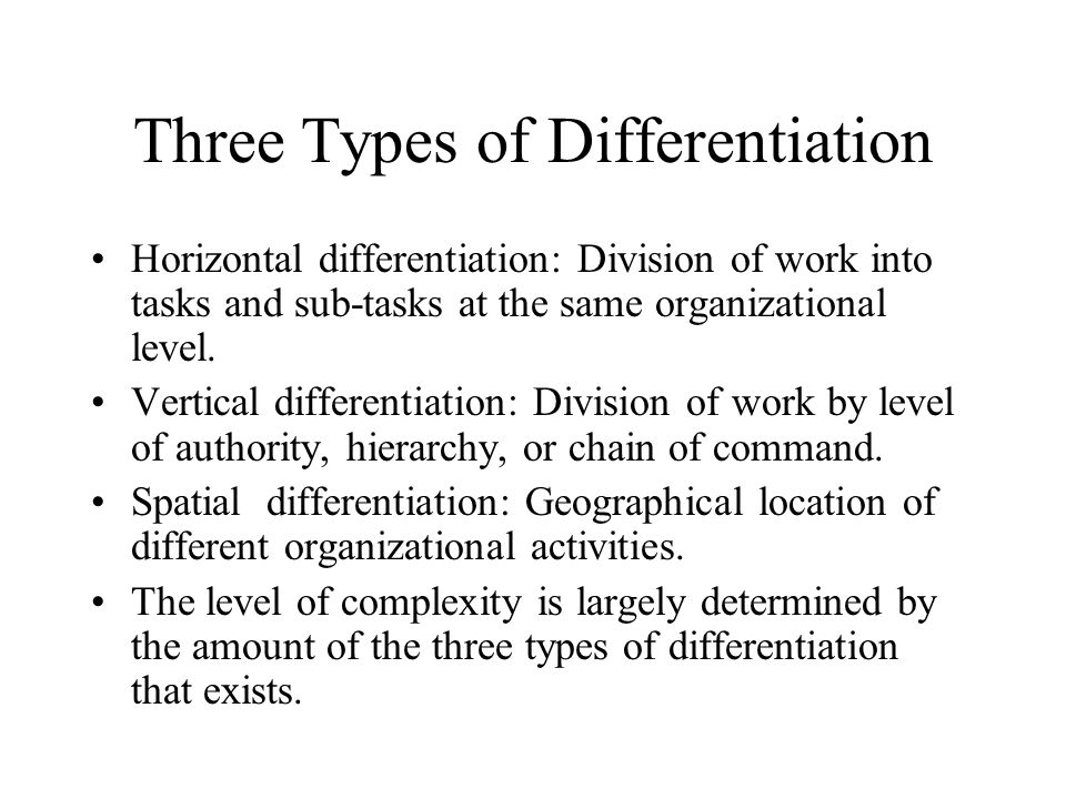 Three Types of Differentiation