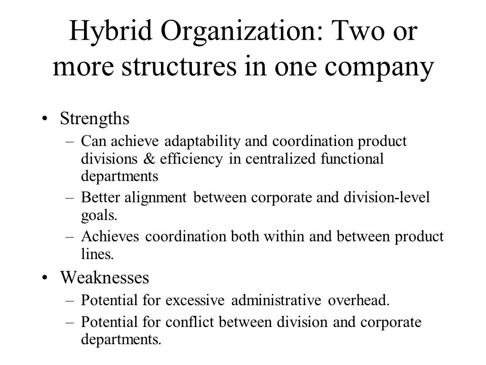 Hybrid Organization: Two or more structures in one company