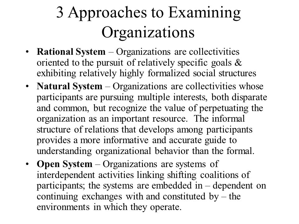 3 Approaches to Examining Organizations