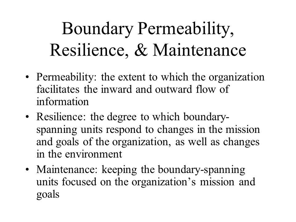 Boundary Permeability, Resilience, & Maintenance