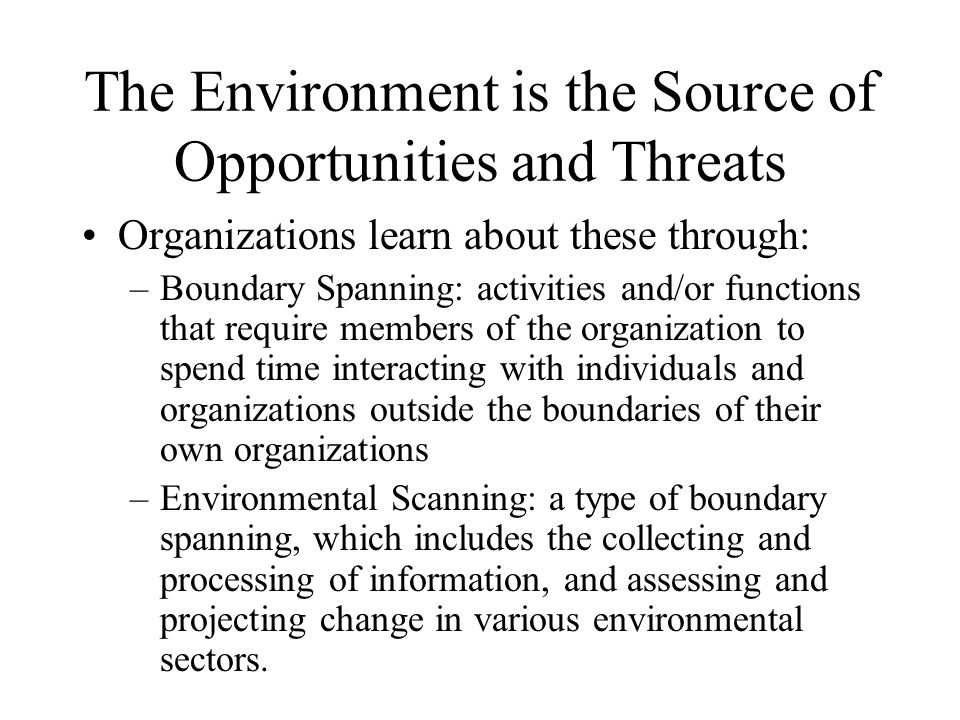 The Environment is the Source of Opportunities and Threats