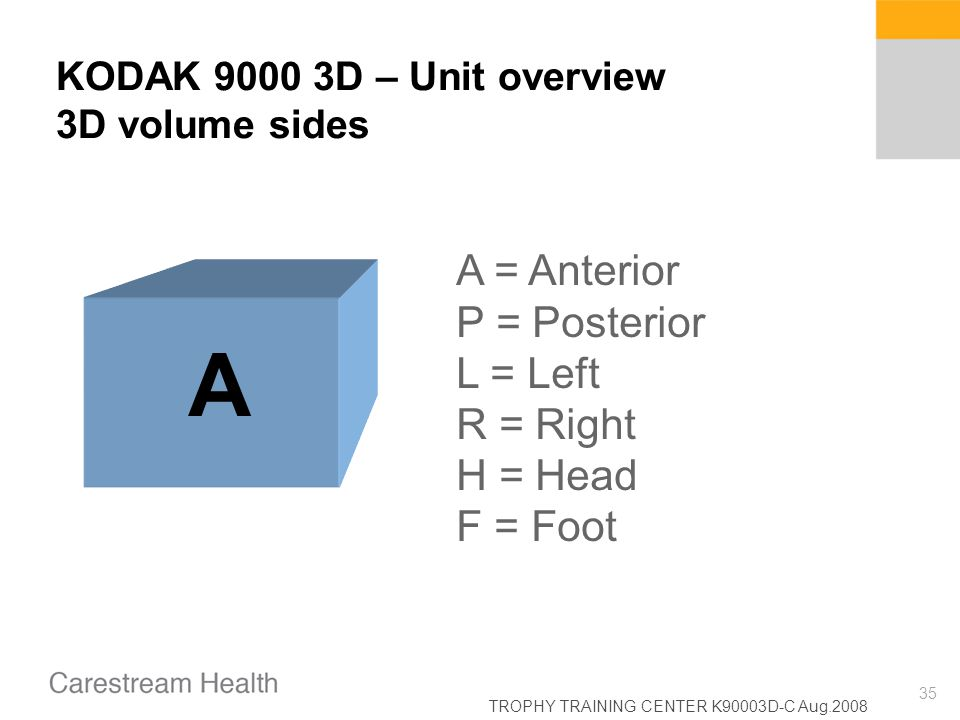 KODAK 9000 3D – Unit overview 3D volume sides