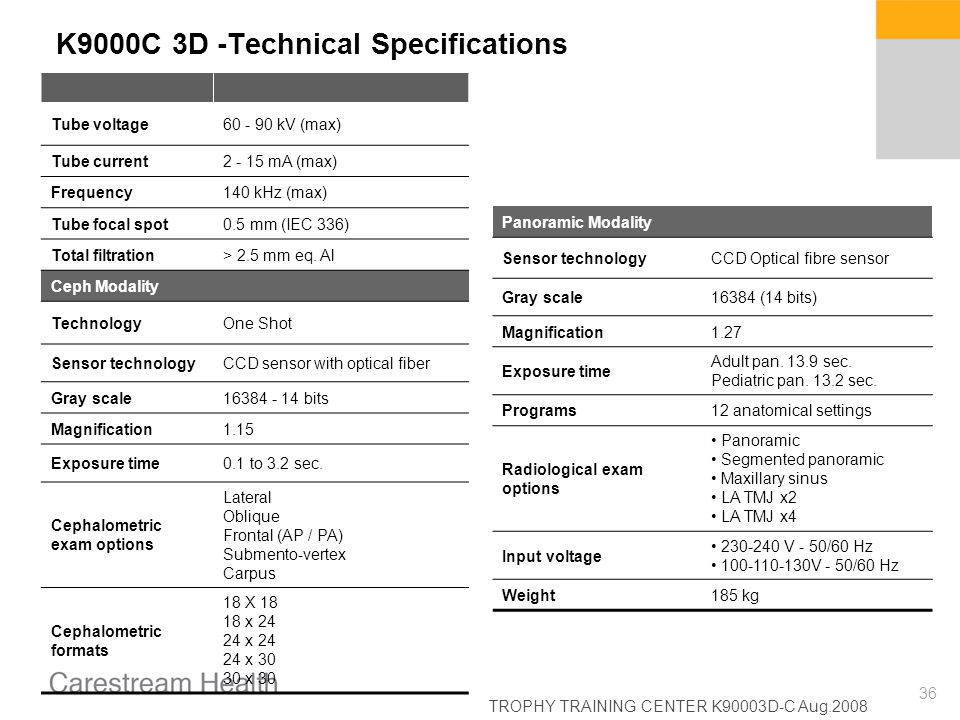 K9000C 3D -Technical Specifications