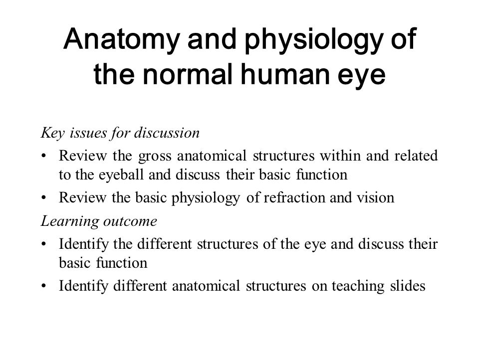 Anatomy and physiology of the normal human eye