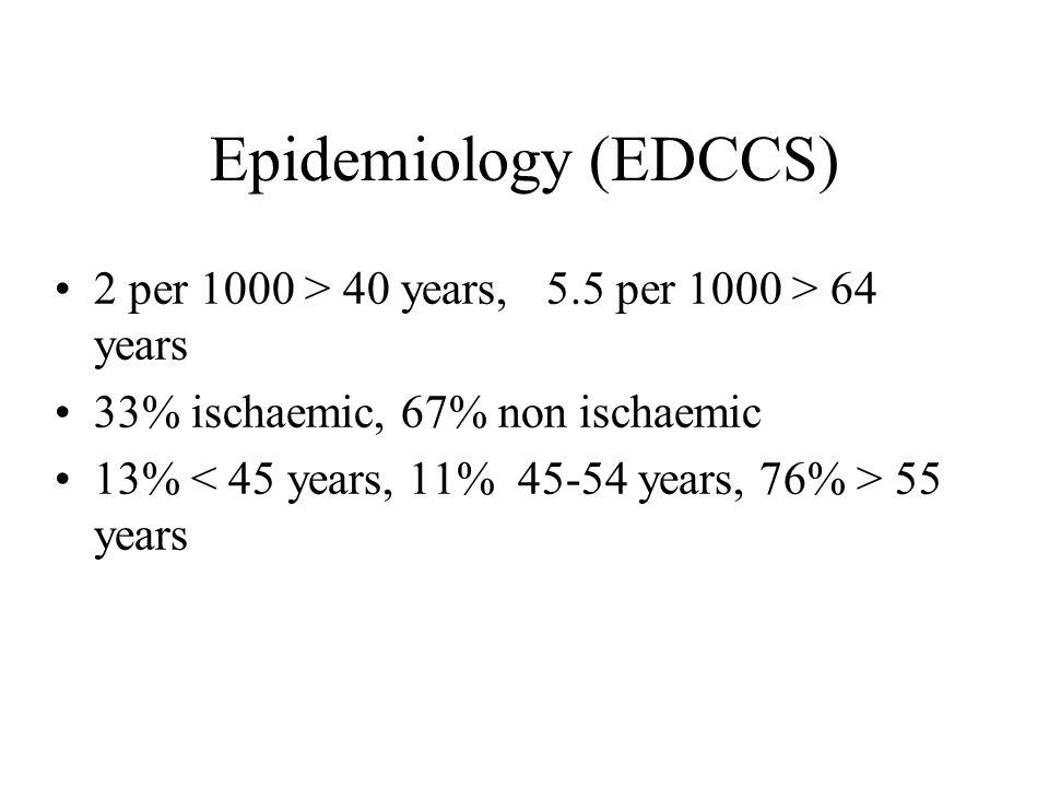 Epidemiology (EDCCS) 2 per 1000 > 40 years, 5.5 per 1000 > 64 years. 33% ischaemic, 67% non ischaemic.