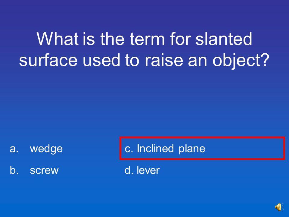 What is the term for slanted surface used to raise an object