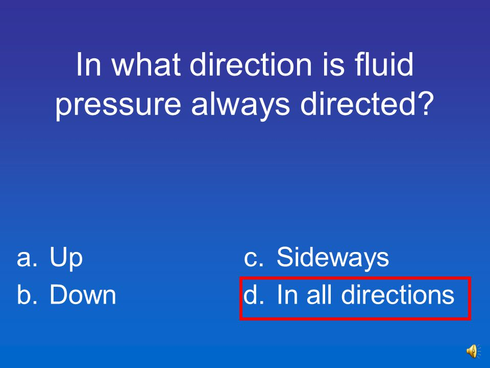 In what direction is fluid pressure always directed