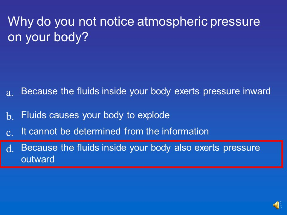 Why do you not notice atmospheric pressure on your body