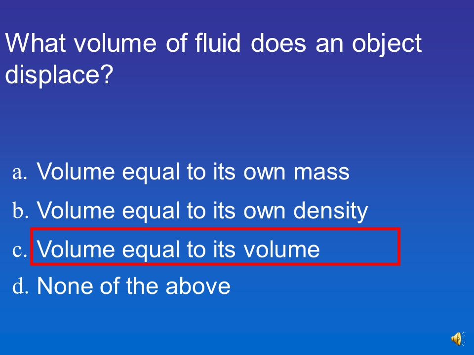 What volume of fluid does an object displace