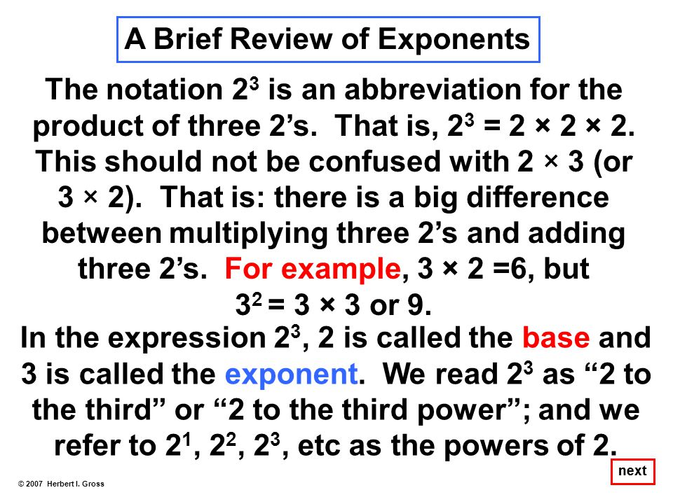A Brief Review of Exponents