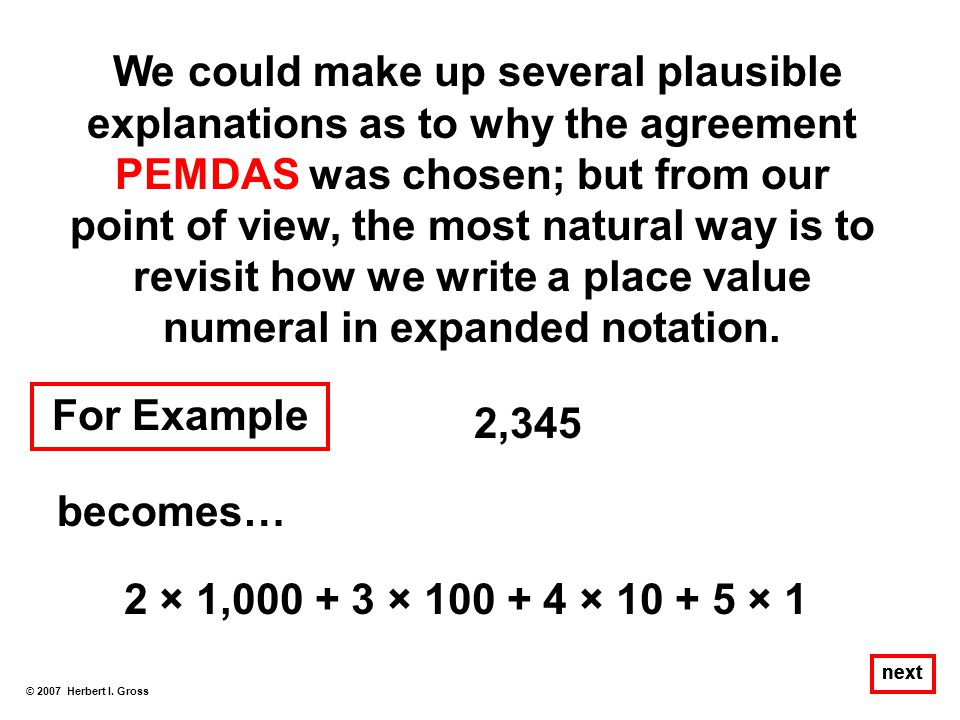 revisit how we write a place value numeral in expanded notation.