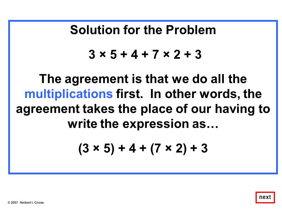 Solution for the Problem