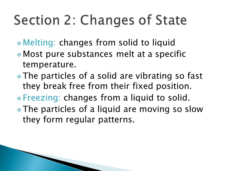 Section 2: Changes of State