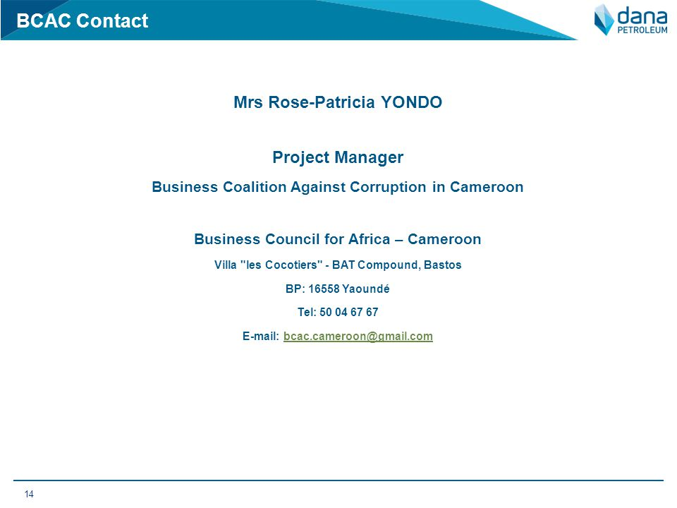 BCAC Contact Mrs Rose-Patricia YONDO Project Manager
