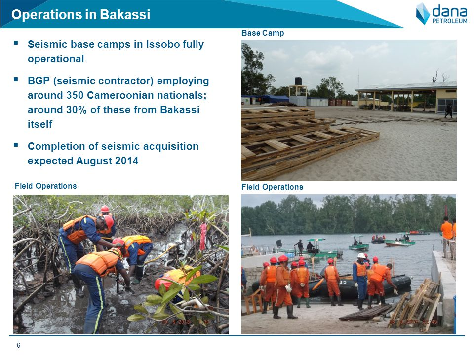 Operations in Bakassi Seismic base camps in Issobo fully operational