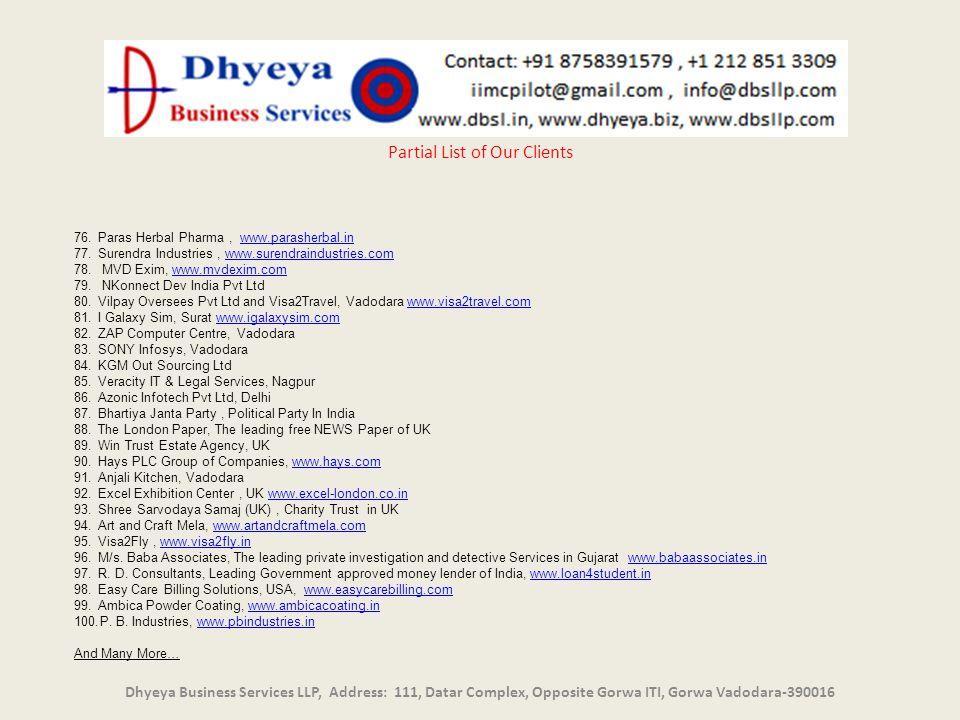 Partial List of Our Clients