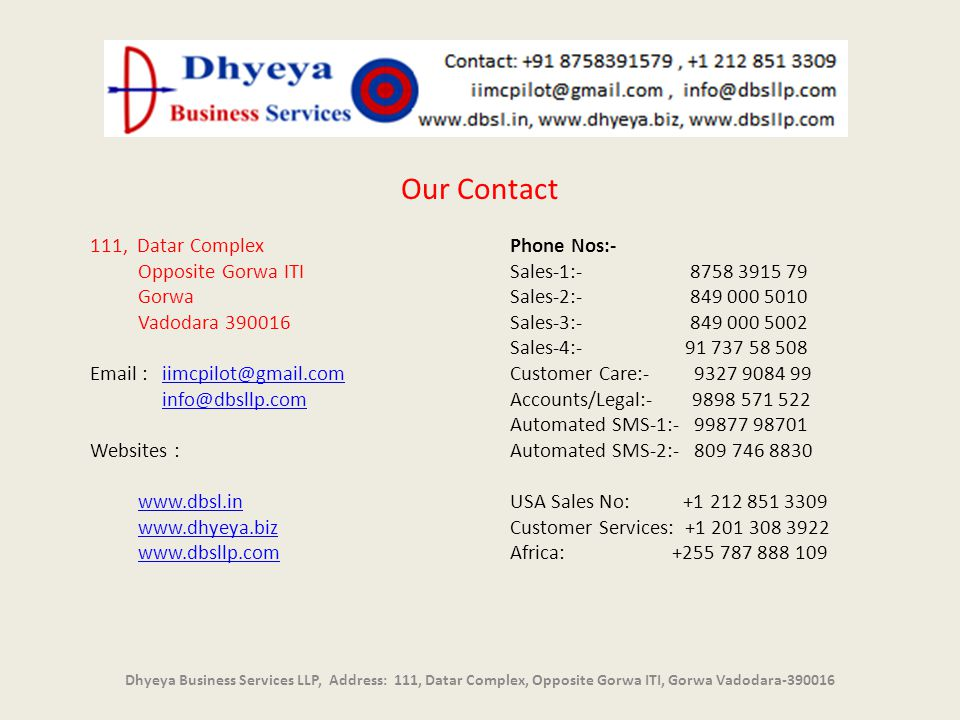 Our Contact 111, Datar Complex Opposite Gorwa ITI Gorwa