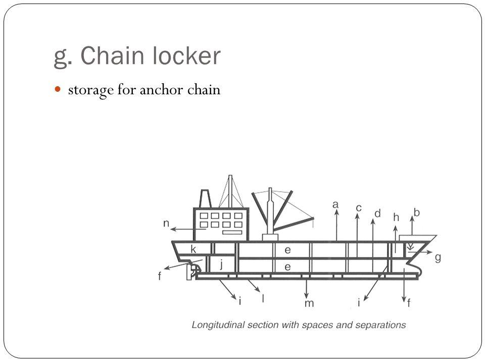 g. Chain locker storage for anchor chain