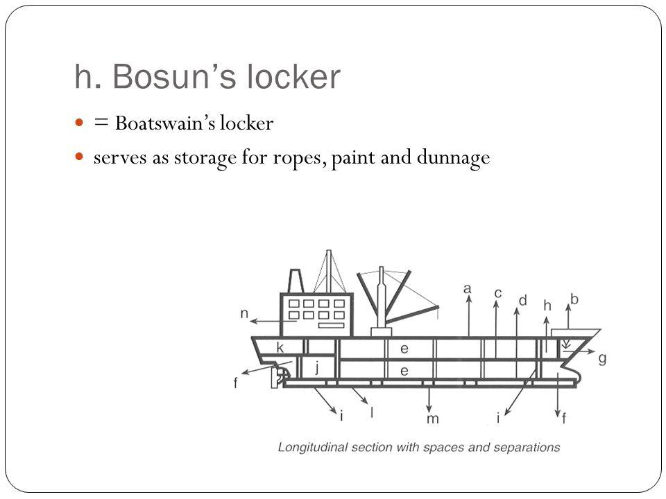 h. Bosun's locker = Boatswain's locker