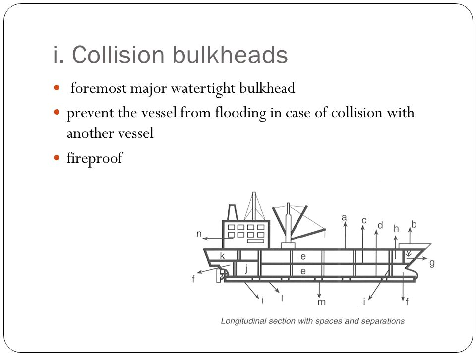 i. Collision bulkheads foremost major watertight bulkhead