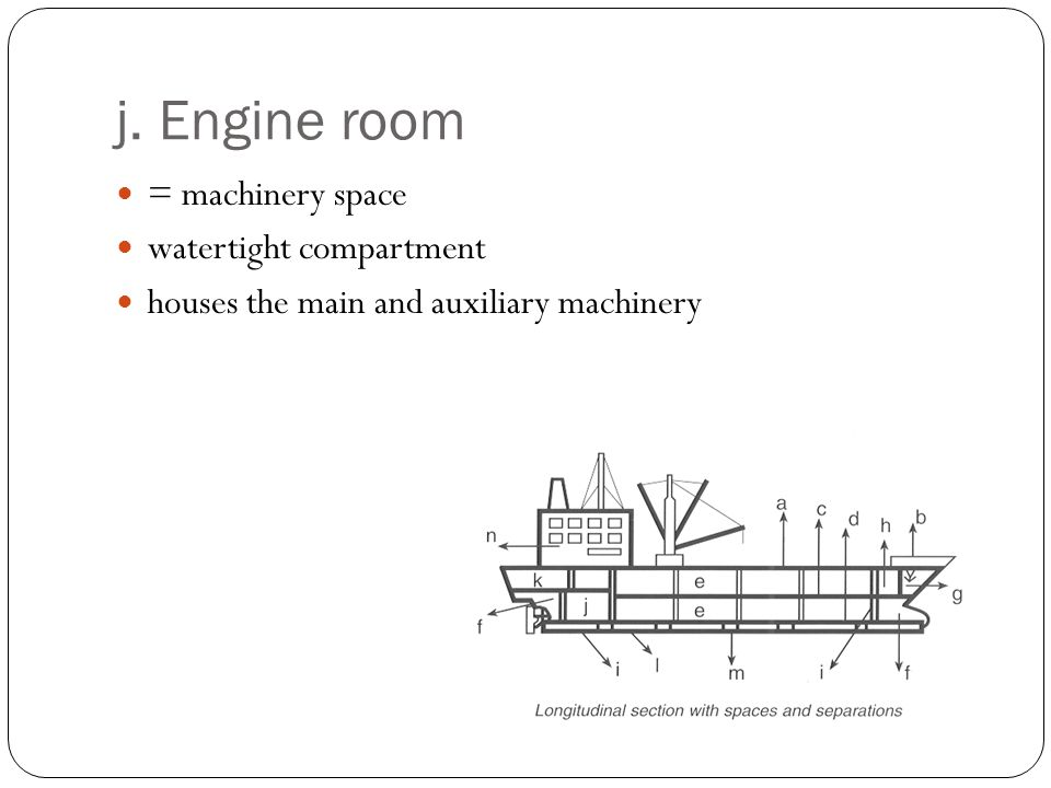 j. Engine room = machinery space watertight compartment