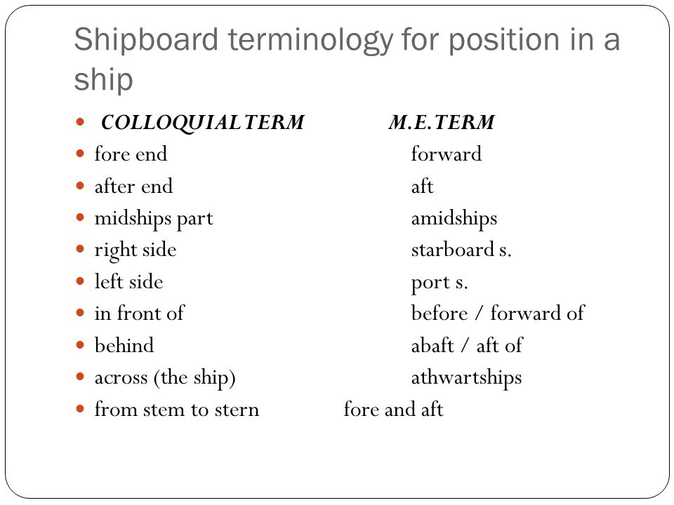 Shipboard terminology for position in a ship