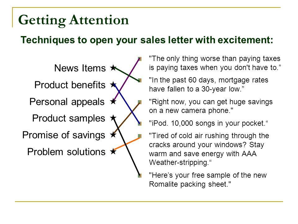 Getting Attention Techniques to open your sales letter with excitement: