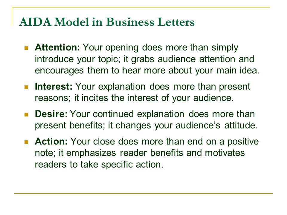 AIDA Model in Business Letters
