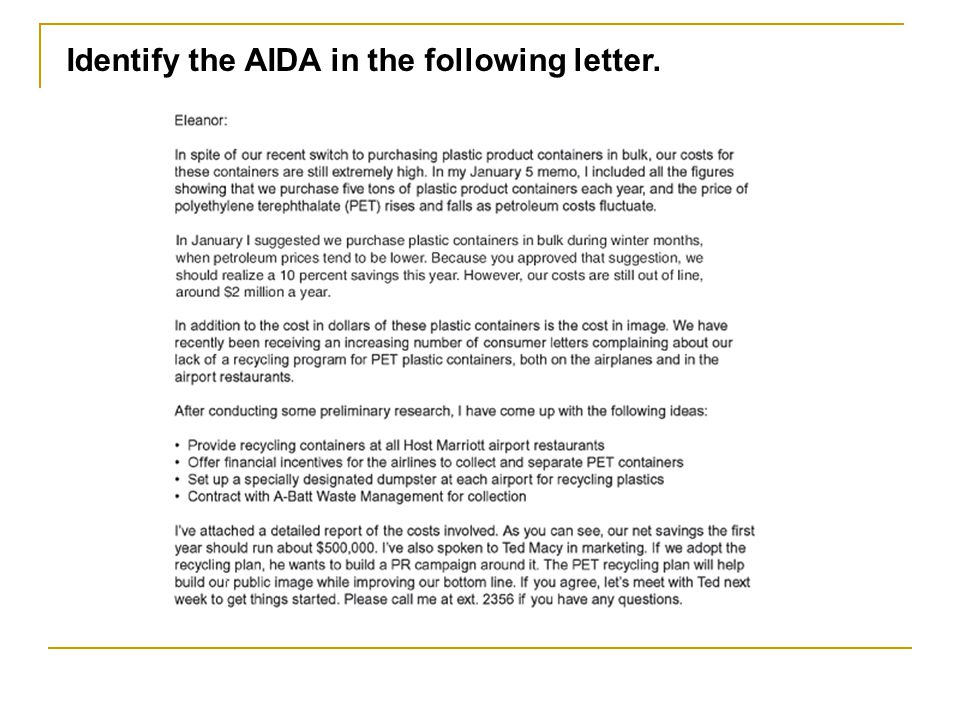 Identify the AIDA in the following letter.