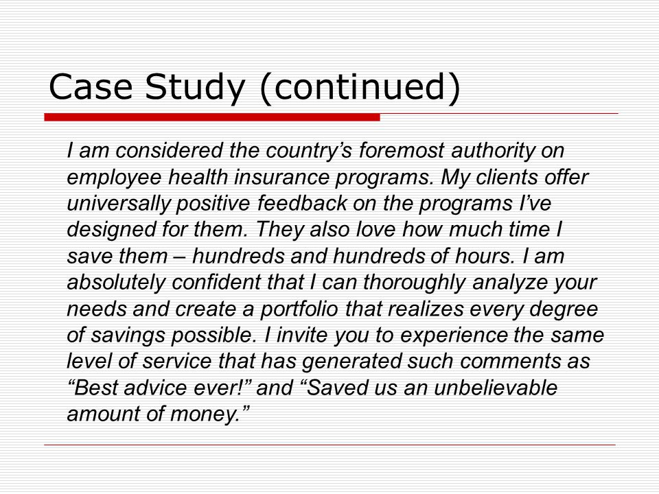 Case Study (continued)