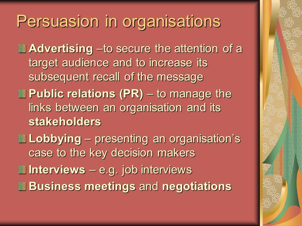 Persuasion in organisations