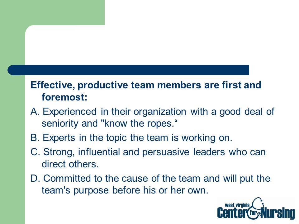 Effective, productive team members are first and foremost: