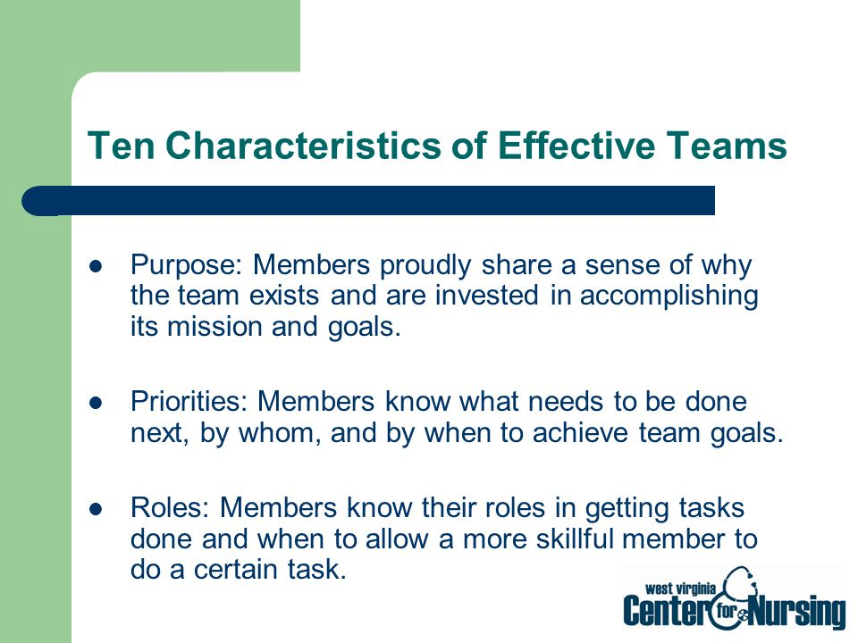 Ten Characteristics of Effective Teams