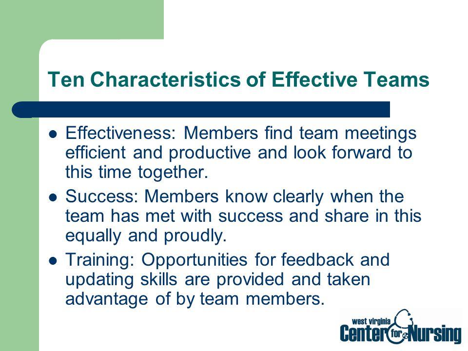 Ten Characteristics of Effective Teams