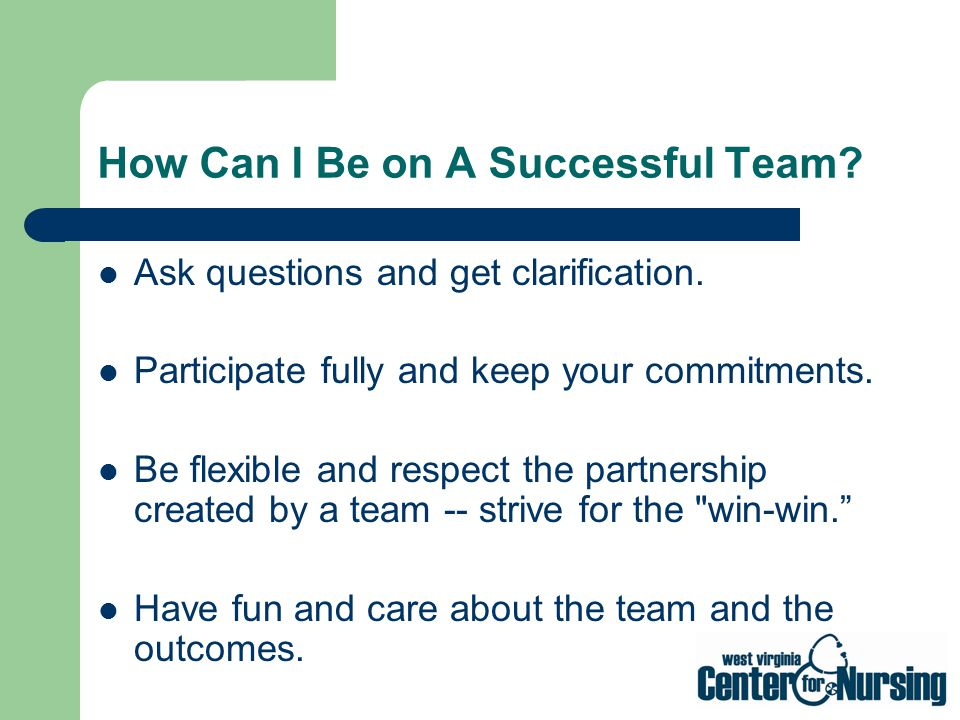 How Can I Be on A Successful Team